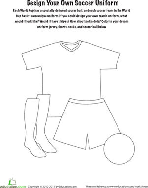 Preschool Coloring Worksheets: Design Your Own Soccer Uniform