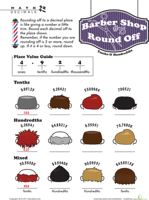 Fifth Grade Math Worksheets: Barber Shop Decimal Round Off #5