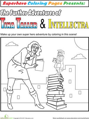 First Grade Coloring Worksheets: Color the Superhero Adventure #2