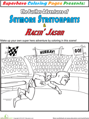 First Grade Coloring Worksheets: Color the Superhero Adventure #3