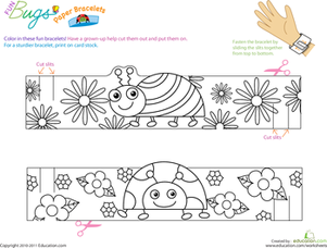 Kindergarten Arts & Crafts Worksheets: Make Fun Bug Bracelets