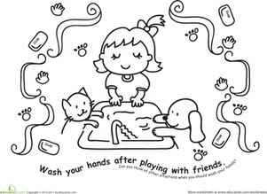 Wash Those Hands! Color the Hand Washing Scene