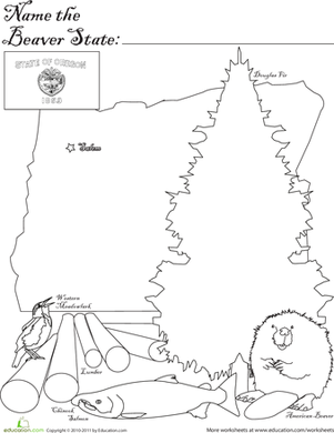 First Grade Coloring Worksheets: Beaver State