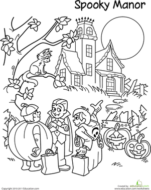Second Grade Holidays & Seasons Worksheets: Trick-Or-Treat Coloring Page