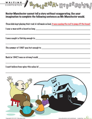 Second Grade Reading & Writing Worksheets: Hysterical Hyperboles