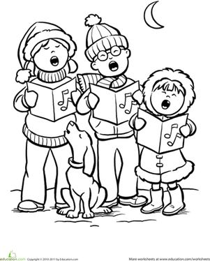 Color the carolers worksheet for Christmas carol coloring pages