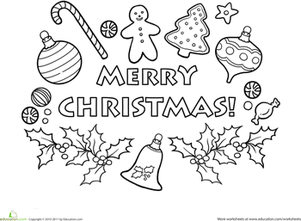 Merry Christmas Coloring Page | Worksheet | Education.com