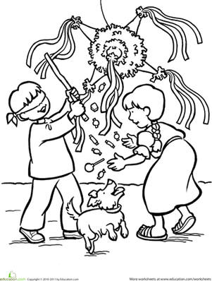 Second Grade Holidays Worksheets: Las Posadas Coloring Page