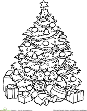 Second Grade Holidays & Seasons Worksheets: Christmas Tree Coloring Page