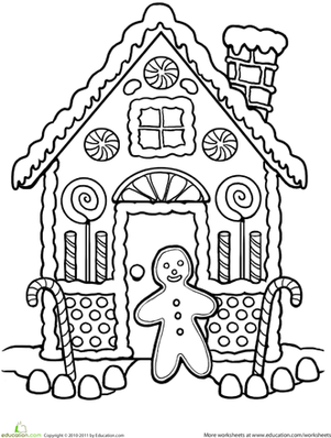 First Grade Holidays & Seasons Worksheets: Gingerbread House Coloring