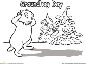Kindergarten Holidays & Seasons Worksheets: Groundhog Day Coloring Page