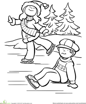 Kindergarten Holidays & Seasons Worksheets: Ice Skating Coloring Page
