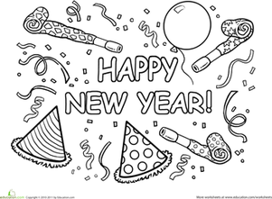 First Grade Holidays & Seasons Worksheets: Happy New Year Coloring Page