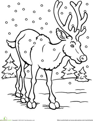 Kindergarten Holidays & Seasons Worksheets: Color the Reindeer
