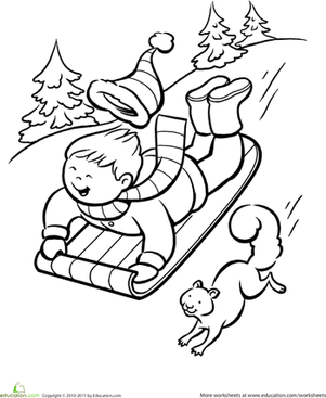 winter activities coloring pages | Winter Sledding Coloring Page | Worksheet | Education.com