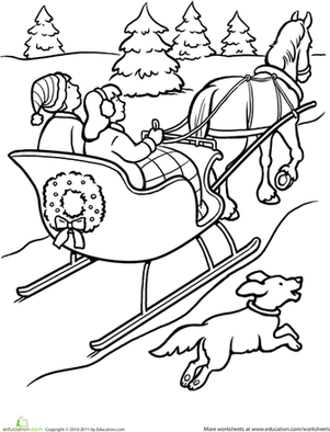 Sleigh Ride Coloring Page