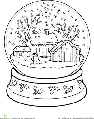 first grade seasons worksheets snow globe coloring page