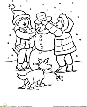 Kindergarten Holidays & Seasons Worksheets: Snowy Day Coloring Page