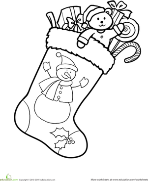 Kindergarten Holidays & Seasons Worksheets: Christmas Stocking Coloring