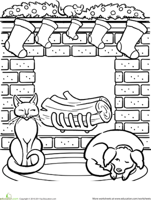 worksheet christmas fireplace coloring page