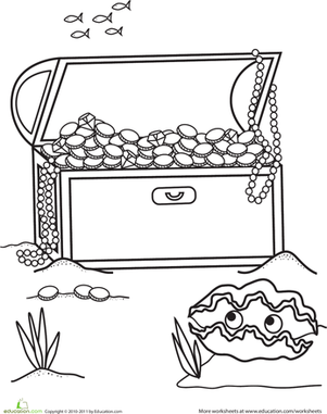 First Grade Coloring Worksheets: Treasure Chest Coloring Page