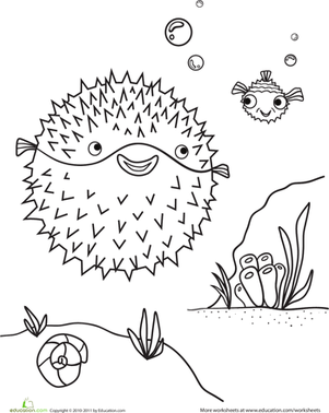 Kindergarten Coloring Worksheets: Blowfish Coloring Page