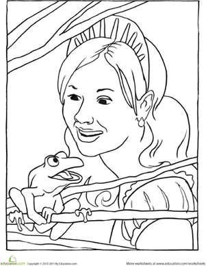 First Grade Coloring Worksheets: Princess and the Frog Coloring Page