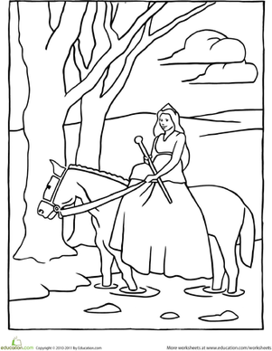Kindergarten Coloring Worksheets: Color the Horseback Riding Princess