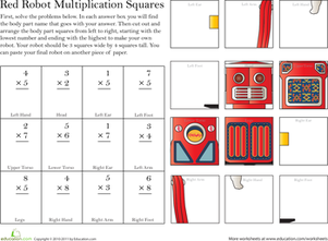 Third Grade Math Worksheets: Build a Robot: Multiplication #5