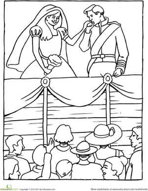 First Grade Coloring Worksheets: Color the Royal Wedding
