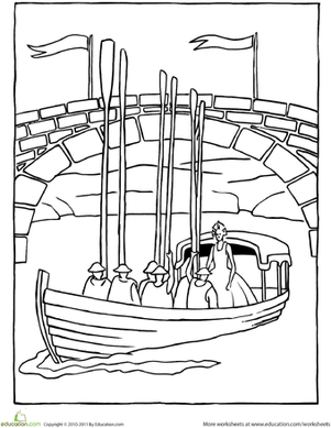 First Grade Coloring Worksheets: Color the Princess's Royal Barge
