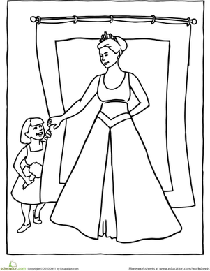Kindergarten Coloring Worksheets: Color the Princess Playing Hide-and-Seek
