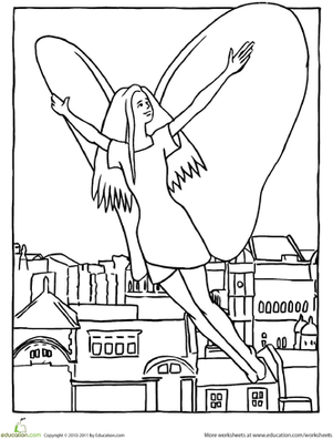 Kindergarten Coloring Worksheets: Color the Flying Fairy