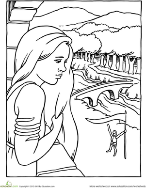 First Grade Coloring Worksheets: Rapunzel Coloring Page