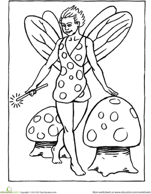 Preschool Coloring Worksheets: Color the Fairy of Mushrooms