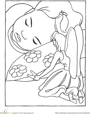 Preschool Coloring Worksheets: Tooth Fairy Coloring Page