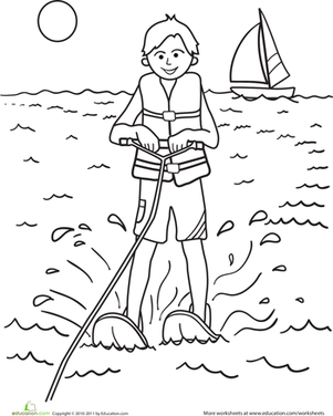 Kindergarten Seasons Worksheets: Color the Water-Skier