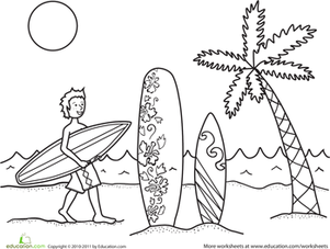 Surfer Dude Coloring Page