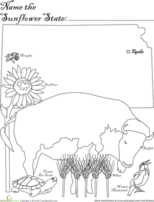 Ks unlimited colouring pages for Kansas state symbols coloring pages