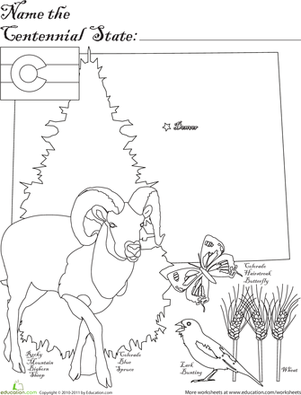 First Grade Coloring Worksheets: Centennial State