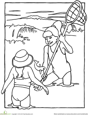 Kindergarten Holidays & Seasons Worksheets: Color the Fishing Adventure