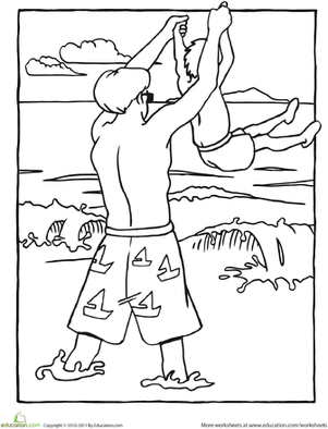 Kindergarten Holidays & Seasons Worksheets: Beach Coloring Page