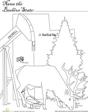First Grade Coloring Worksheets: Name the Mystery State: Beehive State