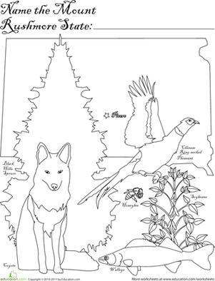 First Grade Coloring Worksheets: Mount Rushmore State