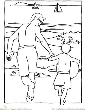 Kindergarten Holidays & Seasons Worksheets: Color the Father and Son Beach Scene