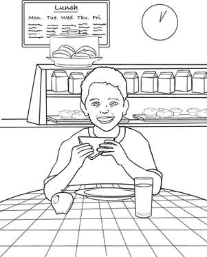 First Grade Seasons Worksheets: Lunchtime Coloring Page