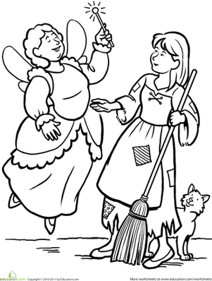 First Grade Coloring Worksheets: Cinderella Coloring Page