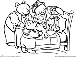 First Grade Coloring Worksheets: Color Goldilocks and the Three Bears
