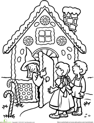 First Grade Coloring Worksheets: Color the Hansel and Gretel Scene