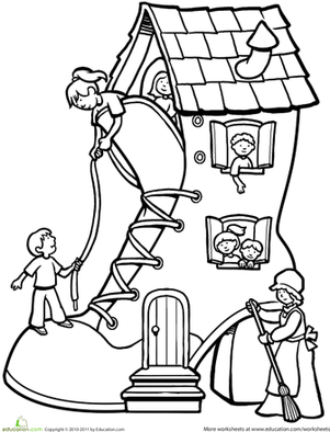 First Grade Coloring Worksheets: There Was an Old Woman Who Lived in a Shoe...